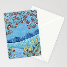 Winter Mountain Colorful Fields Stationery Cards