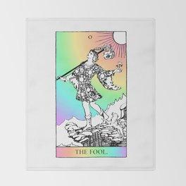 0. The Fool- Pastel Rainbow Tarot Throw Blanket