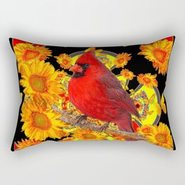 BUTTERFLIES  RED CARDINAL SUNFLOWERS BLACK ART Rectangular Pillow