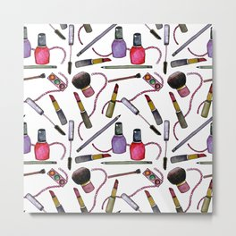 Watercolor Eyes Lips Nails - repeat pattern Metal Print