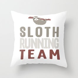 Cute Sloth Running Team For Sloth Runner Throw Pillow