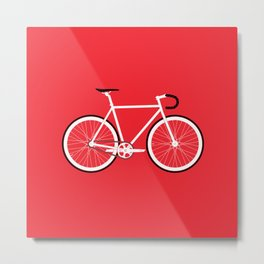 Red Fixed Gear Bike Metal Print