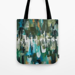 Acrylic Blue, Green and Gold Abstract Painting Tote Bag