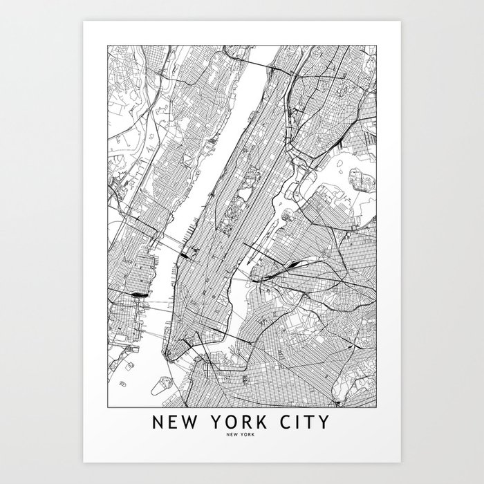 New York City White Map Kunstdrucke