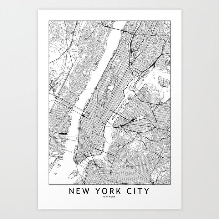 New York City White Map Art Print By Multiplicity Society6