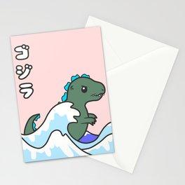 kawaii tiny godzilla kanagawa wave Stationery Cards