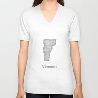 vermont V-neck T-shirts featuring Vermont map by David Zydd