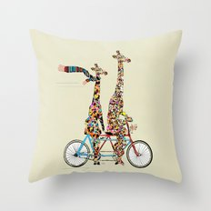 giraffe days lets tandem Throw Pillow