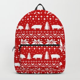 Pig Silhouettes Christmas Sweater Pattern Backpack
