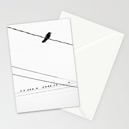 Birds on a wire in the winter Stationery Cards