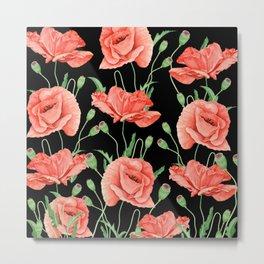 Red Poppies Watercolor On Black Metal Print