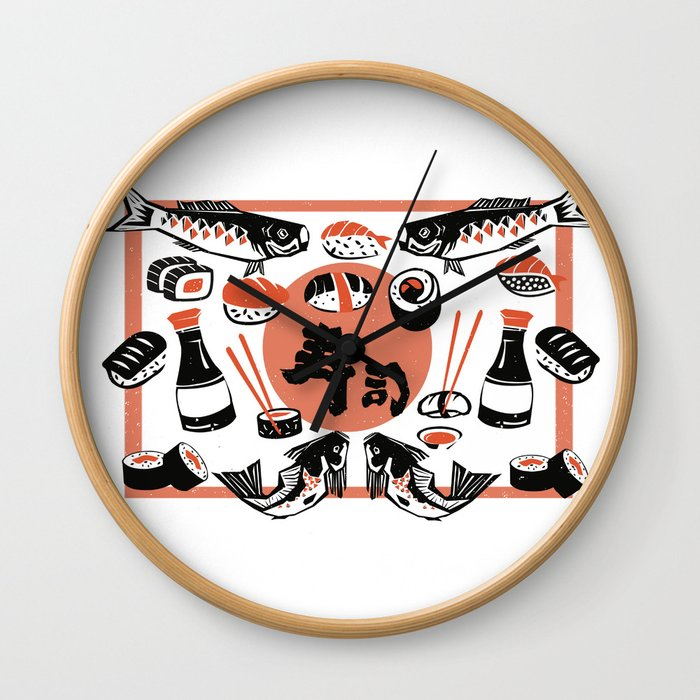 Sushi And Soy Sauce Wall Clock