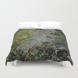 Austin Texas old vintage colorful map, original gift for office decoration Duvet Cover