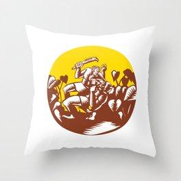 Losi Defeating God Circle Woodcut Throw Pillow