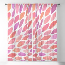 Watercolor brush strokes burst - pink and purple Sheer Curtain
