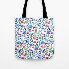 Little Owls and Flowers on White Tote Bag