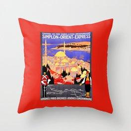 Vintage Simplon Orient Express London Constantinople Throw Pillow