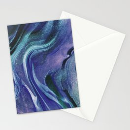 Abstract Teal Purple Black Glitter Marble Stationery Cards
