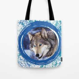 Blue-Eyed Wolf Tote Bag