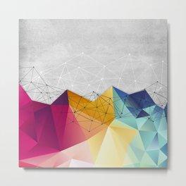 Polygons on Concrete Metal Print