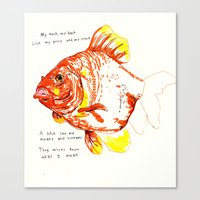 goldfish Canvas Prints featuring goldfish by withapencilinhand