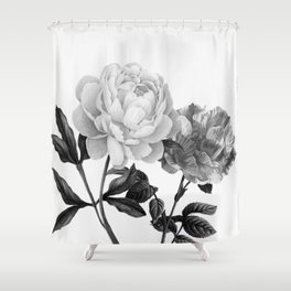 grayscale roses Shower Curtain