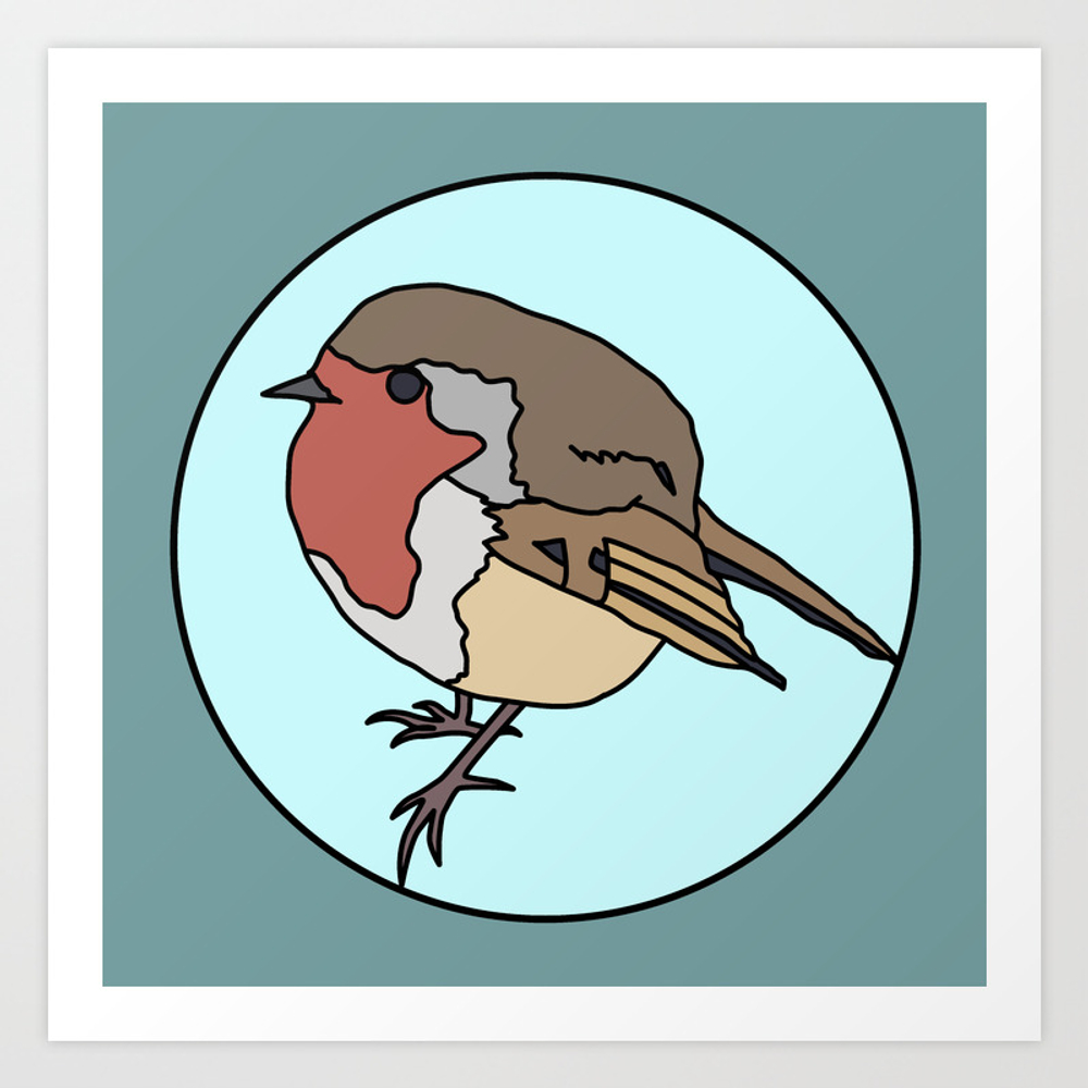 Robin - Robin Redbreast Art Print by Mothpathtags (PRN8909815) photo