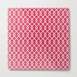 Amaranth Red Diamond Weave Pattern Metal Print