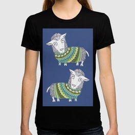 Sheep wearing Fair Isle knitted sweater T-shirt