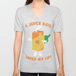 Funny Type 1 Diabetes Awareness design - Juice Box Saved Me Unisex V-Neck
