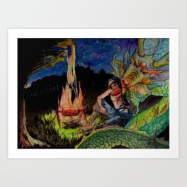 Ninja and Dragon Art Print
