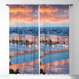 World Popular Széchenyi Chain Bridge Danube River Budapest Hungary Europe Romantic Sunset Ultra HD Blackout Curtain