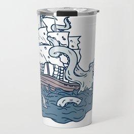 Kraken Attacking Sailing Galleon Doodle Art Color Travel Mug