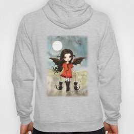 Child of Halloween Cute Gothic Vampire Child and Black Cats Illustration Hoody