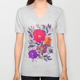 hand painted flowers_2a Unisex V-Neck