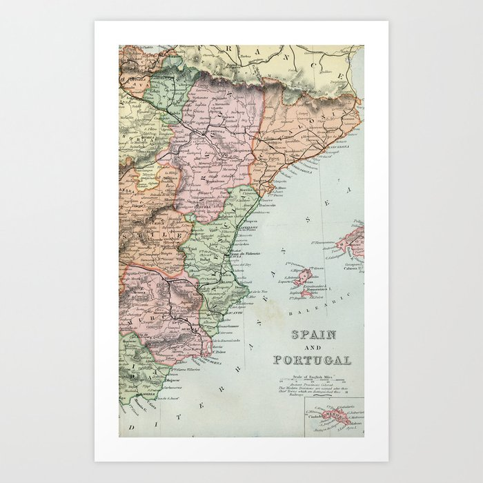 Map Of Spain For Printing.Vintage Map Of Spain And Portugal Art Print By Graphikz