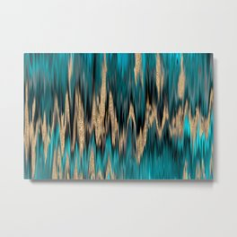 Turquoise and Gold Ikat Pattern Metal Print