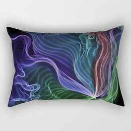 Pleated Rainbow Aurora String Theory Art #5 Rectangular Pillow