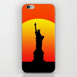 Sunset and Statue of Liberty in New York iPhone Skin