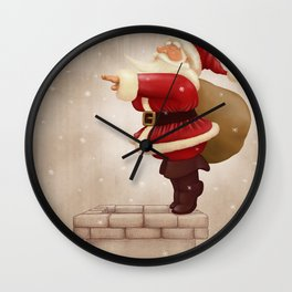 Santa Claus dive in the fireplace Wall Clock