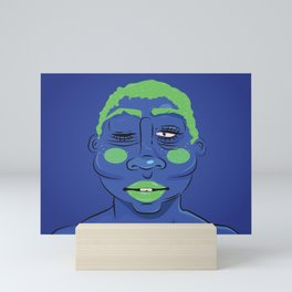 BLUE (SHADES OF BLACK) Mini Art Print