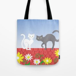 Cats on the roof Tote Bag