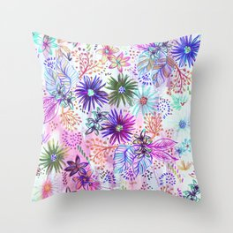 Eden Floral Multi White Throw Pillow