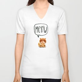 Grumpy ginger persian cat Unisex V-Neck