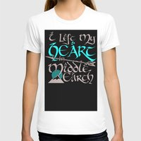 middle earth T-shirts featuring I Left My Heart in Middle Earth (white version) by Nikki Fernandez