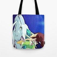 chihiro Tote Bags featuring Spirited Away (Chihiro and Haku) by Tiffany Gage Graphics