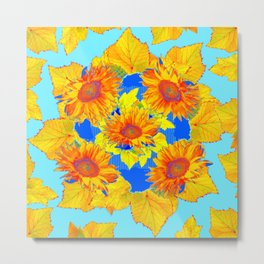Turquoise-gold Sunflowers Leaves Pattern Abstract Metal Print