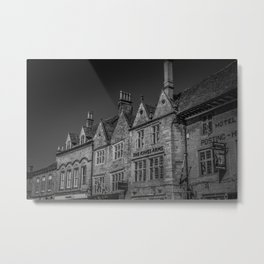 Stow-on-the-Wold Market Square Black and White Dynamic Historic Cotswolds Metal Print