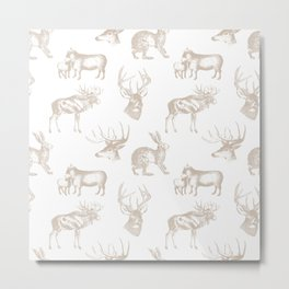 Woodland Critters in Beige Metal Print