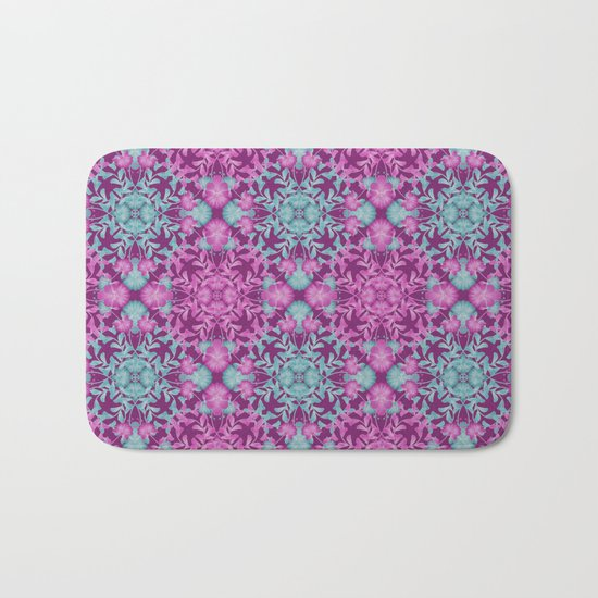 Blue pink floral pattern Bath Mat
